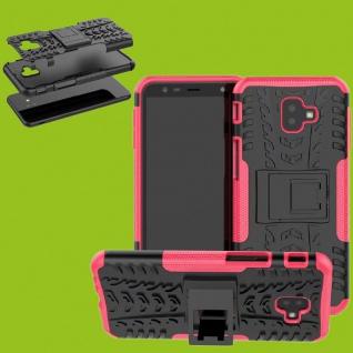 Für Samsung Galaxy J6 Plus J610F Hybrid Case 2teilig Outdoor Pink Tasche Cover