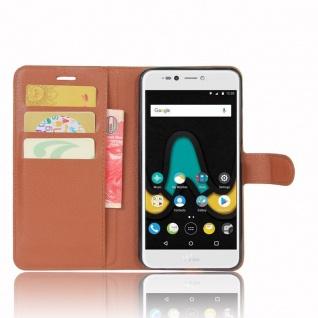 Tasche Wallet Premium Braun für Wiko Upulse Lite Hülle Case Cover Etui Schutz - Vorschau 5