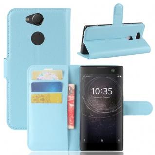 Tasche Wallet Premium Blau für Sony Xperia XA2 Hülle Case Cover Schutz Etui Neu