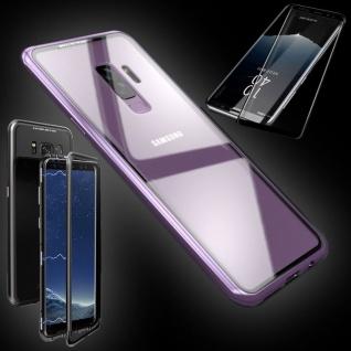 Für Samsung Galaxy S9 Magnet Tasche Pink Transparent + 0, 3 4D H9 Glas Hülle Case