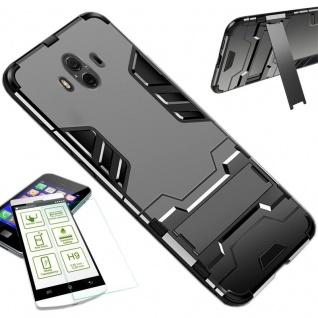 Für Huawei P Smart Plus Tasche Case Metal Style Hybrid Hülle Grau + H9 Glas Neu
