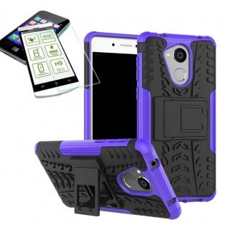 Hybrid Case Tasche Outdoor 2teilig Lila für Huawei Honor 6C Hülle Hartglas Neu