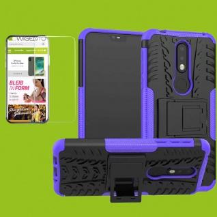 Für Nokia 7.1 5.84 Zoll Hybrid Tasche Outdoor 2teilig Lila Hülle + H9 Glas Cover