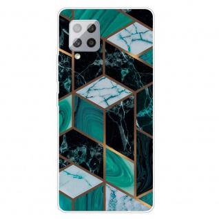 Für Samsung Galaxy A42 5G Silikon TPU Marble Dunkel Grün Handy Hülle