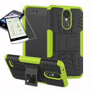 Für LG K9 2018 Hybrid Case Tasche Outdoor 2teilig Grün Hülle + 0, 26mm H9 Glas