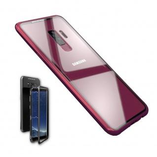 Für Samsung Galaxy S9 Magnet / Metall / Glas Rot / Transparent Tasche Hülle Neu