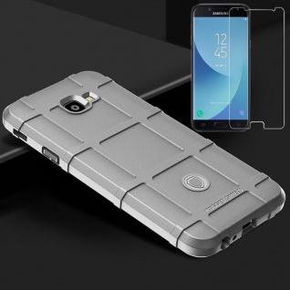 Für Samsung Galaxy J4 Plus J415F Tasche Shield TPU Silikon Hülle Grau + H9 Glas