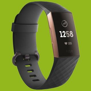 Für Fitbit Charge 3 Kunststoff / Silikon Armband für Männer Größe L Schwarz Uhr