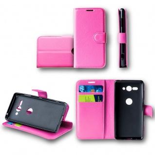 Für Huawei Y6 2018 Tasche Wallet Premium Pink Hülle Case Cover Schutz Etui Neu