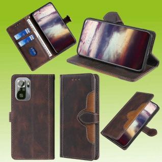 Für Xiaomi Redmi Note 10 / 10s Design Handy Tasche Braun Etuis Kunst-Leder Hülle