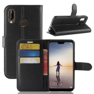 Tasche Wallet Premium Schwarz für Huawei P20 Lite Hülle Case Cover Schutz Schale