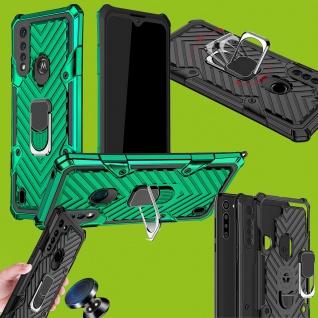 Für Motorola Moto G8 Power Lite Hybrid Case Metall Armor Grün Handy Tasche Hülle