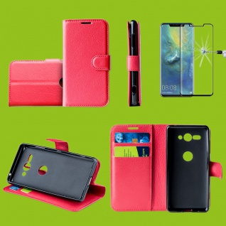 Für Huawei P30 Pro Tasche Wallet Cover Rot Hülle Etuis + H9 4D Curved Hart Glas
