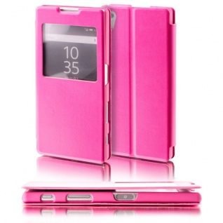 Booktasche Window Pink für Sony Xperia Z5 5.2 Zoll Tasche Cover Hülle Case Neu