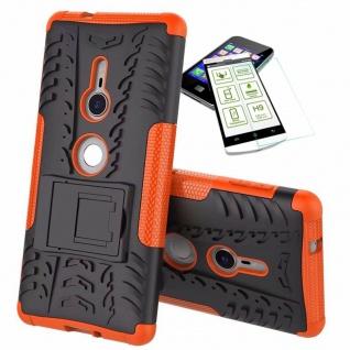 Für Sony Xperia XZ2 Hybrid Case 2 teilig Orange Hülle + 0, 3 mm H9 Glas Tasche