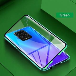 Beidseitige Magnet Glas Bumper Handy Tasche Grün für Xiaomi Redmi Note 9S Cover