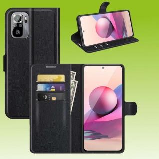 Für Xiaomi Redmi Note 10 5G Handy Tasche Schwarz Etuis Kunst-Leder Cover Hülle