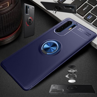 Für Huawei P30 Lite Magnet Metall Ring ultra dünn Blau Tasche Etuis Hülle Case