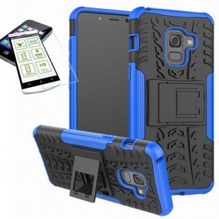 Hybrid Case Tasche 2teilig Blau für Samsung Galaxy A8 A530F 2018 + H9 Glas Hülle