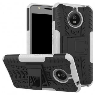 Hybrid Case 2teilig Outdoor Weiß Tasche Hülle für Motorola Moto E4 Plus Cover
