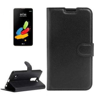 Tasche Wallet Premium Schwarz für LG Stylus 2 / LS775 Hülle Case Cover Etui Neu