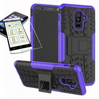 Hybrid Tasche Outdoor 2teilig Lila für Samsung Galaxy A6 Plus A605 Hülle + Glas