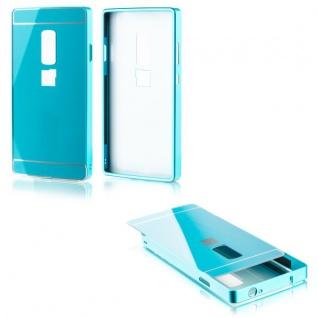 Alu Bumper 2 teilig mit Abdeckung Blau für ONEPLUS Two 2 A2003 Tasche Hülle Neu