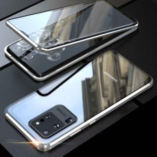 Beidseitige Magnet Glas Bumper Handy Silber für Samsung Galaxy S20 Plus Tasche