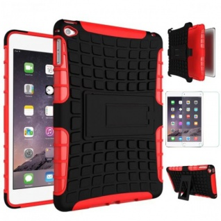 Für Apple iPad Mini 5 7.9 2019 Hybrid Outdoor Rot Tasche Etuis + 0.3 H9 Glas Neu
