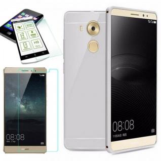 Alu Bumper 2 teilig Silber + 0, 3 mm H9 Hartglas für Huawei Mate 8 Tasche Case