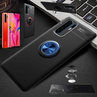 Für Huawei P30 Pro Magnet Metall Ring Dünn Schwarz / Blau Tasche Etuis + 4D Glas