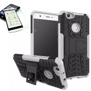 Hybrid Case Tasche Outdoor 2teilig Weiß für Huawei Nova + Hartglas Cover Neu