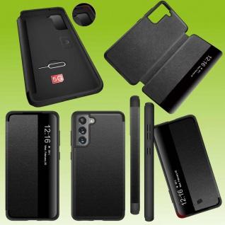 Für Samsung Galaxy S21 FE View Handy Tasche Schwarz Etuis Kunst-Leder Hülle Case