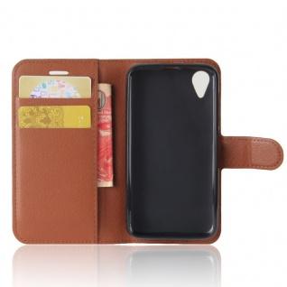 Tasche Wallet Premium Braun für Wiko Sunny 2 Hülle Case Cover Etui Schutz Neu - Vorschau 5