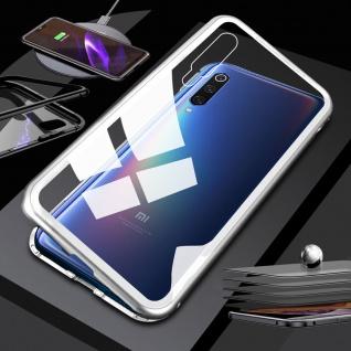 Für Xiaomi Redmi Note 8 Magnet Metall Glas Transparent Silber Tasche Hülle Case
