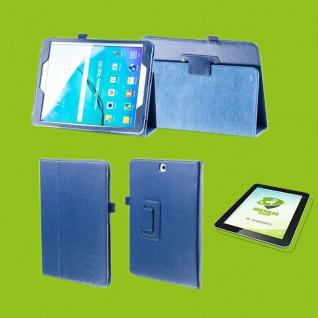 Für Samsung Galaxy Tab S5e 10.5 T720F D-Blau Etuis Tasche Kunst Leder + H9 Glas