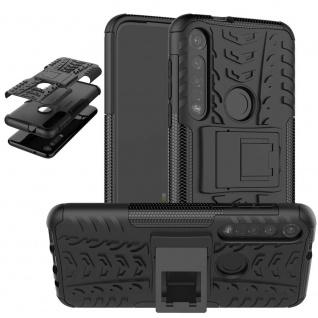 Für Motorola Moto G8 Plus Hybrid 2teilig Outdoor Schwarz Tasche Etuis Hülle Neu