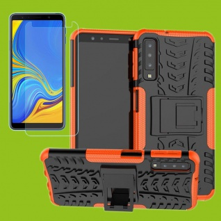 Für Samsung Galaxy A7 A750F Hybrid Tasche Outdoor 2teilig Orange + H9 Glas Cover