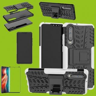 Für Huawei P30 Hybrid Tasche Etuis 2teilig Weiß Hülle + 4D Curved H9 Glas Cover