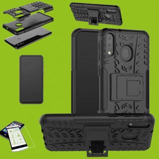 Für Huawei P30 Lite Hybrid Case Tasche Outdoor 2teilig Schwarz + H9 Glas Etuis