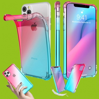Für Apple iPhone 11 6.1 Silikon TPU Pink / Türkis Tasche Hülle Etuis Cover Case