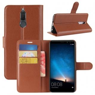 Tasche Wallet Premium Braun für Huawei Mate 10 Lite Hülle Case Cover Etui Schutz