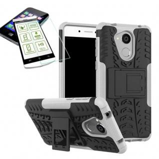 Hybrid Case Tasche Outdoor 2teilig Weiß für Huawei Honor 6C Hülle Hartglas Neu