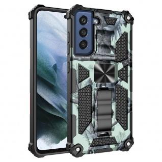 Für Samsung Galaxy S21 FE Camouflage Shockproof Armor TPU Hülle Hellgrün