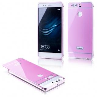 Alu Bumper 2 teilig mit Abdeckung Rosa für Huawei P9 Tasche Hülle Case Etui Neu