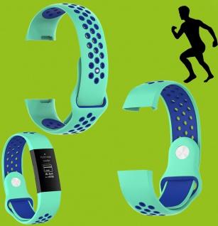 Für Fitbit Charge 3 Kunststoff Silikon Armband für Männer Größe L Türkis-Blau