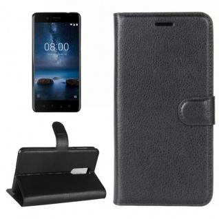Schutzhülle Schwarz für Nokia 8 2017 Bookcover Tasche Case Neu Etui Wallet Flip