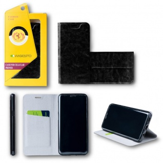 Für Huawei P20 Lite Flip / Smart Cover Schwarz Case Schutz Etui Tasche Hülle Neu