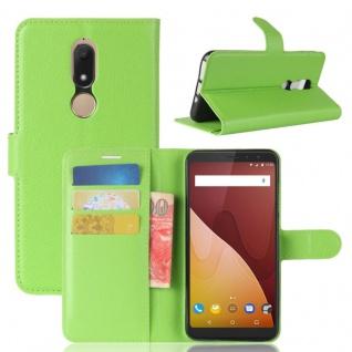 Tasche Wallet Premium Grün für Wiko View Prime Hülle Case Cover Etui Schutz Neu