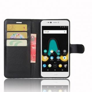 Tasche Wallet Premium Schwarz für Wiko Upulse Lite Hülle Case Cover Etui Schutz - Vorschau 5